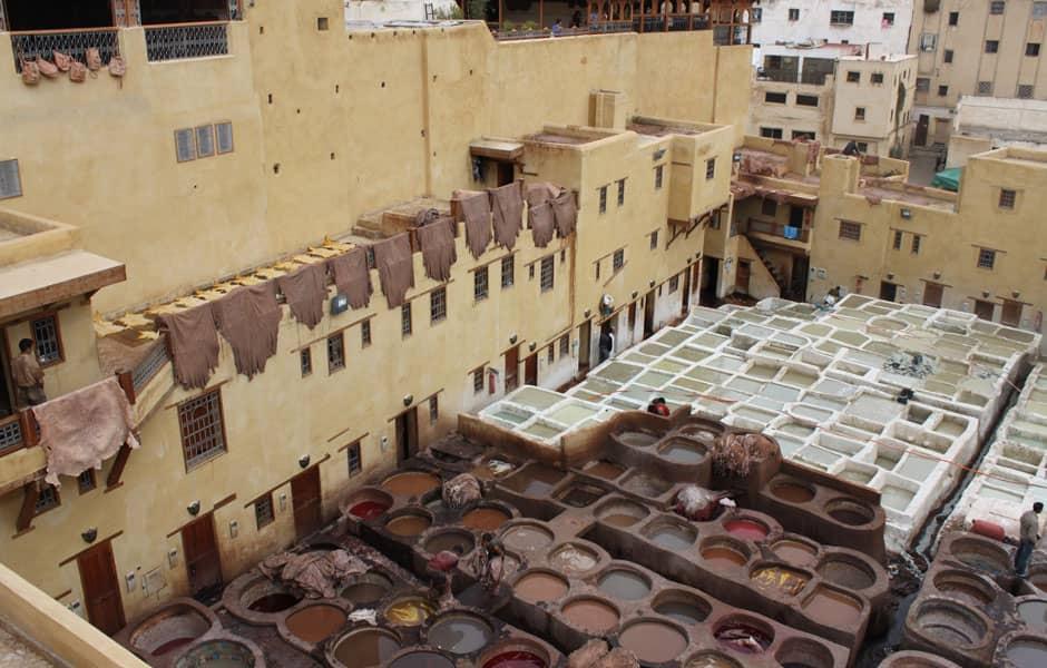 Babouche : tannage du cuir à Fès, Maroc
